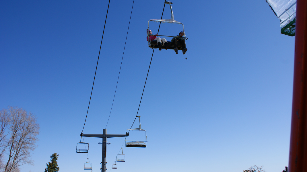 Actors on the built, forced perspective ski lift.